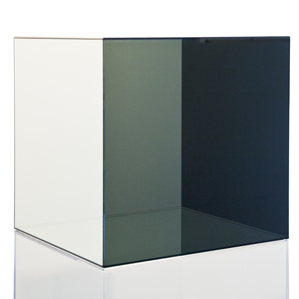 """Larry Bell, """"Cube Prototype,"""" 2008, uncoated clear and dark grey glass, 24 x 24 inches"""
