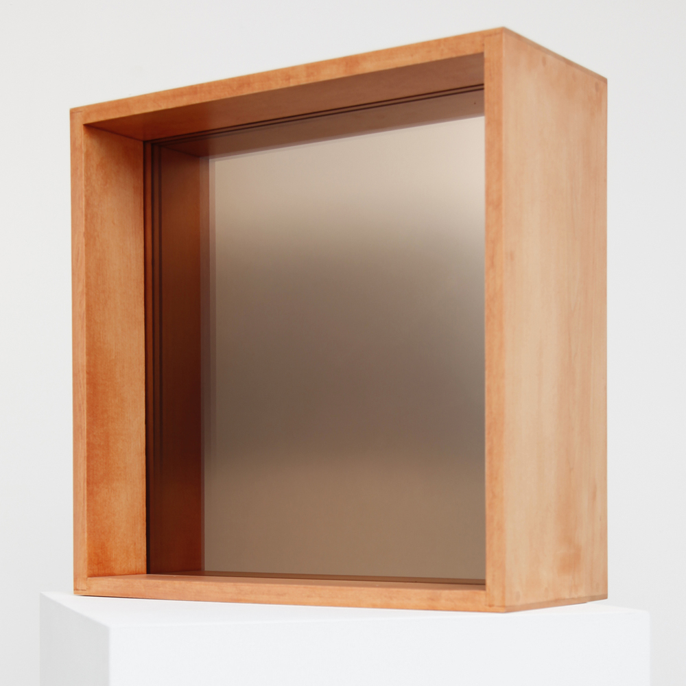 Larry Bell,  SLOT 7,  2008, 2 center coated glass panels, 21 x 21 x 9 inches