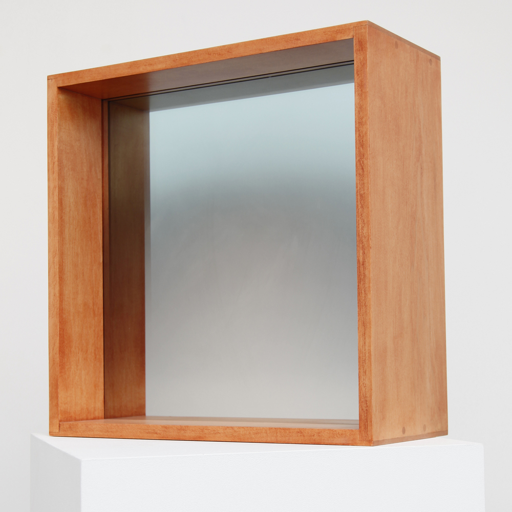 Larry Bell,  Untitled,  2006, coated glass on wood, 21 x 21 x 9 inches