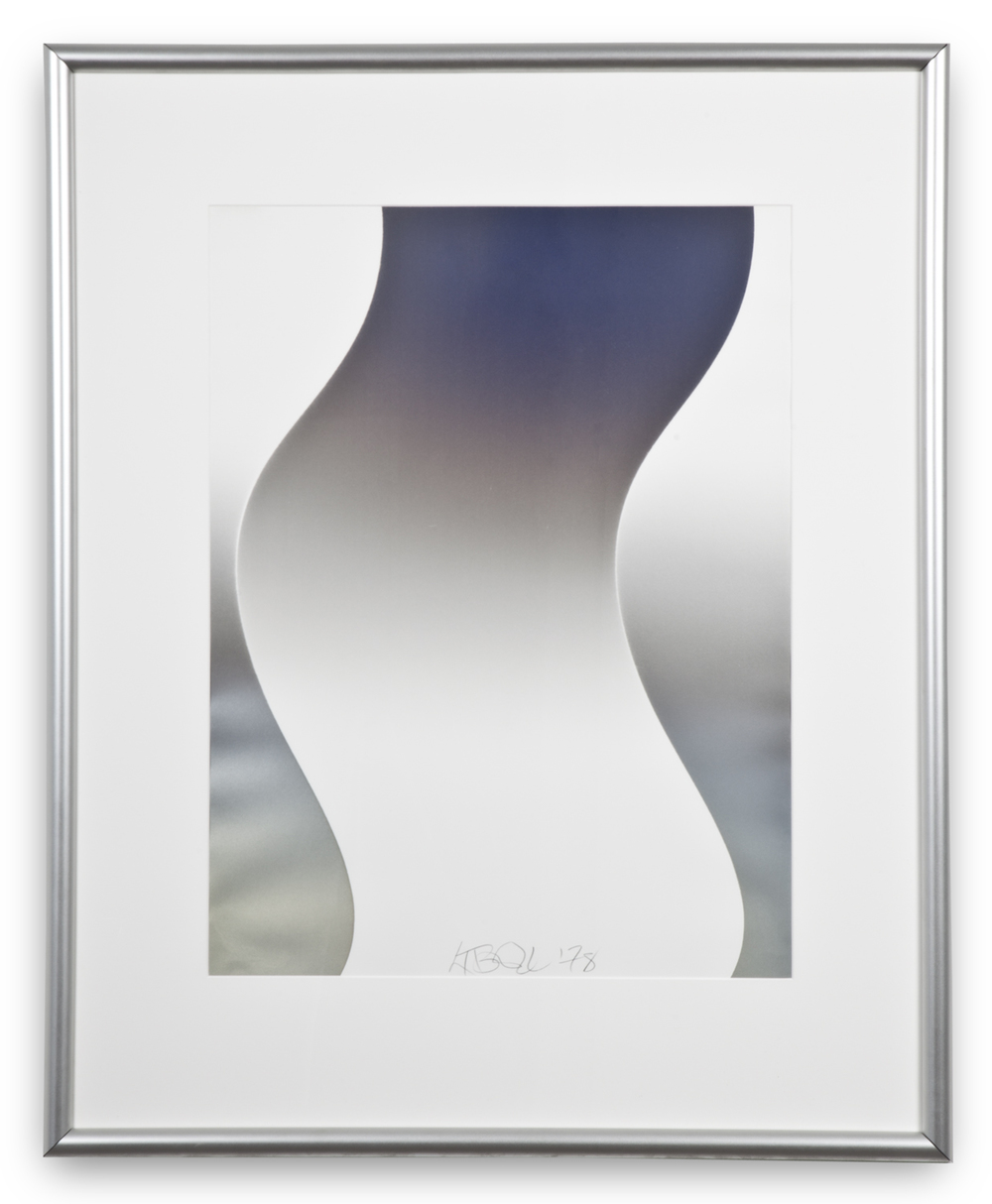 "Larry Bell, ""Untitled (Vapor Series),"" 1978, vaporized metal on paper, 41 1/2 x 33 3/4 inches"