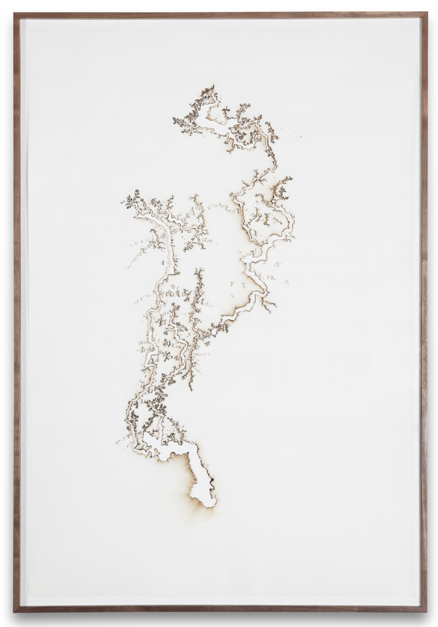 """Troika, """"Path of Least Resistance #9,"""" 2013, electric charge on Hahneumuele paper, 65 x 44 inches"""