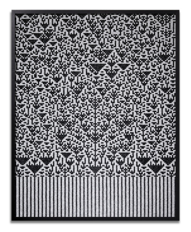 """Troika, """"Hierophany,"""" 2014, black & white 7mm dice, 45 x 36 x 4 inches"""