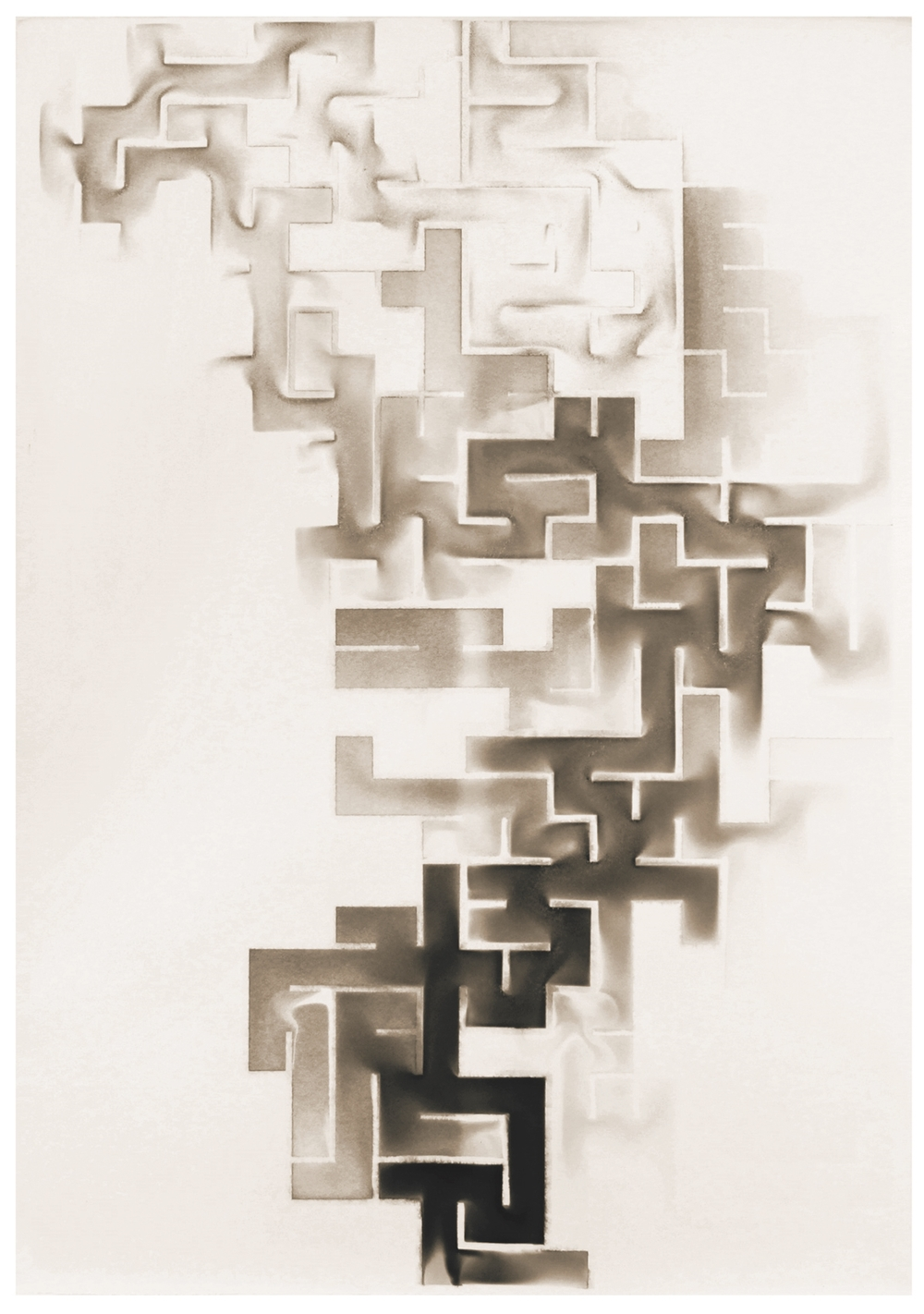 """Troika, """"Labyrinth,"""" 2014, soot on paper, 44 x 30 x 3 inches"""
