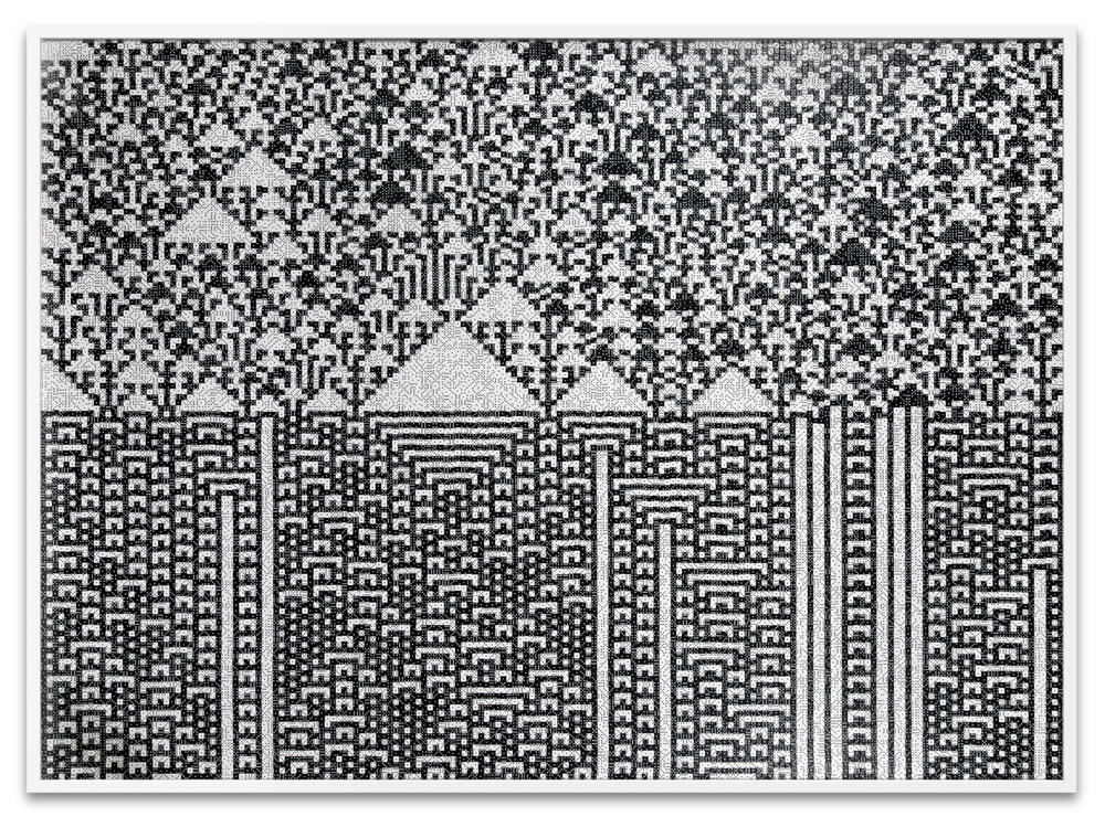 Troika,  Calculating the Universe , 2014, 23,940 black & white dice, 53 1/8 x 71 5/8 x 1 7/8 inches
