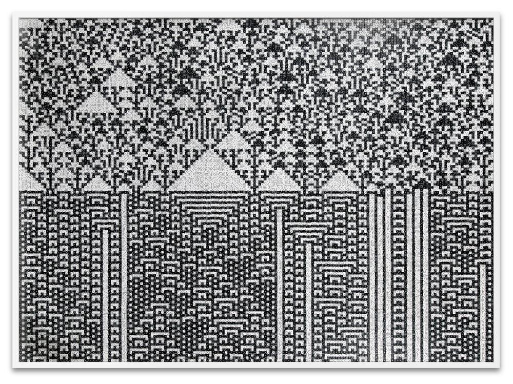 "Troika, ""Calculating the Universe,"" 2014, 23,940 black & white dice, 53 1/8 x 71 5/8 x 1 7/8 inches"