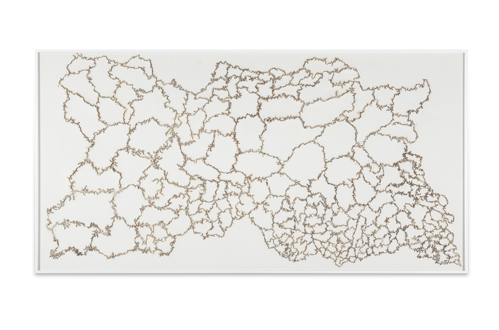 """Troika, """"Cartography of Control,"""" 2014, electric charge on paper, 60 1/2 x 118 1/8 inches"""