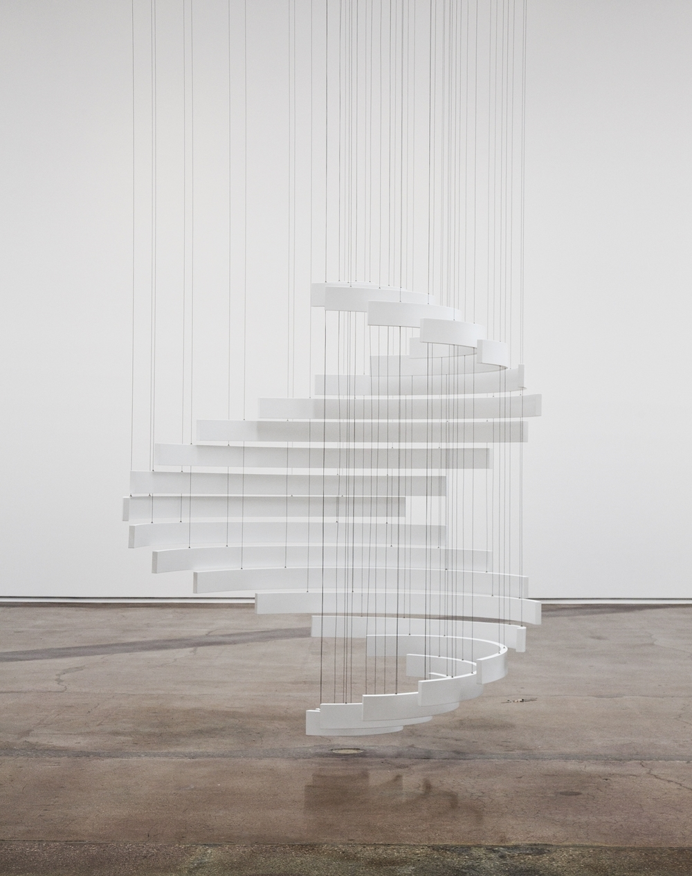 """Troika, """"The Sum of All Possibilities,"""" 2014, Suspended sculpture (steel, aluminum, painted wood), 59 x 59 x 106 1/4 inches"""