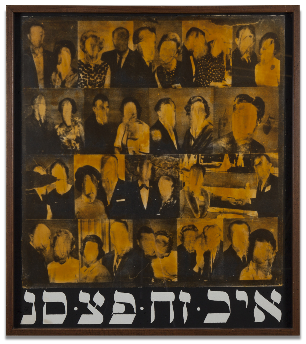 Wallace Berman,  Untitled (Faceless Faces with Kabbalah) , c. 1963-70, paint on photograph mounted on board with hand applied varnish, 34 x 30 inches