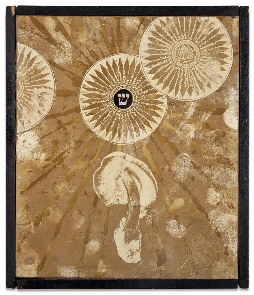 "Wallace Berman, ""Silent Series, Magic Mushroom,"" 1965, verifax collage, 8 1/2 x 7 inches"