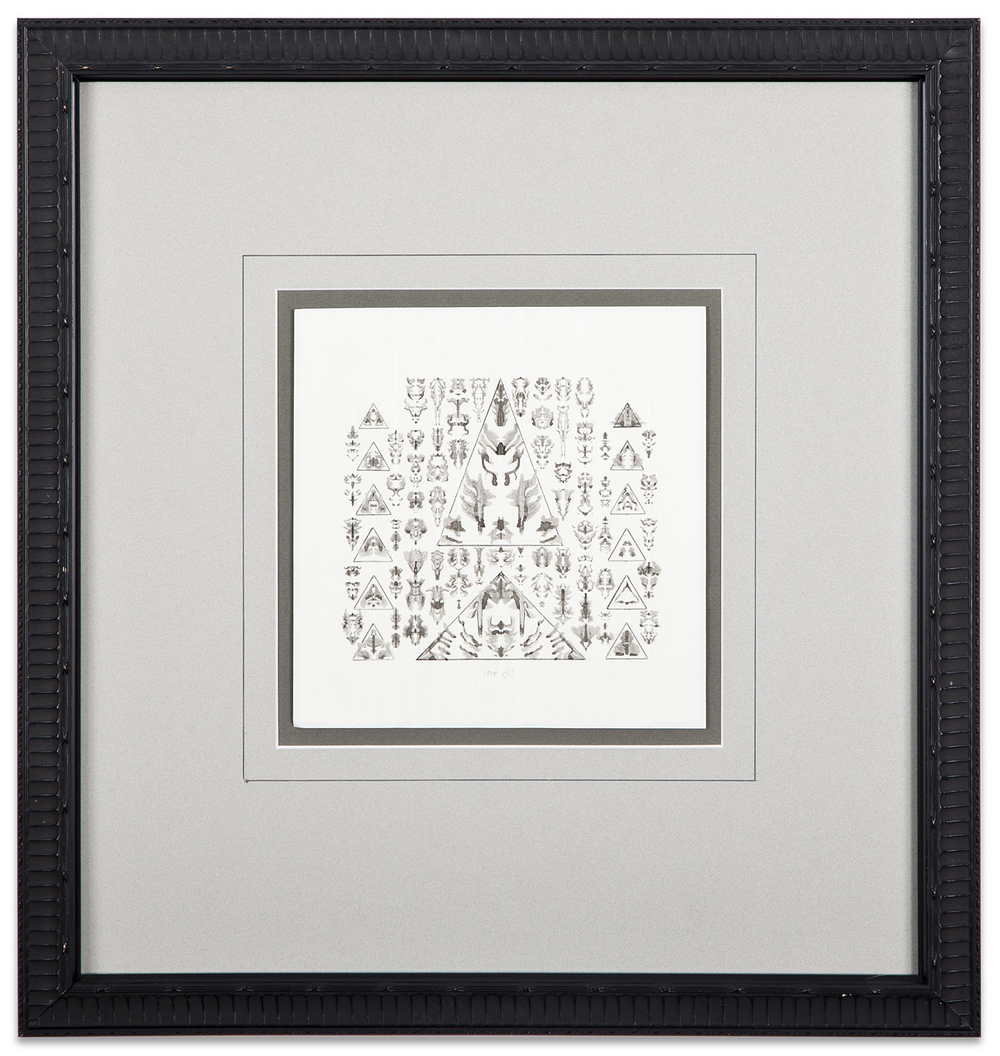 Bruce Conner, UNTITLED , 1994, inkblot drawing in triangles, 7 x 7 inches