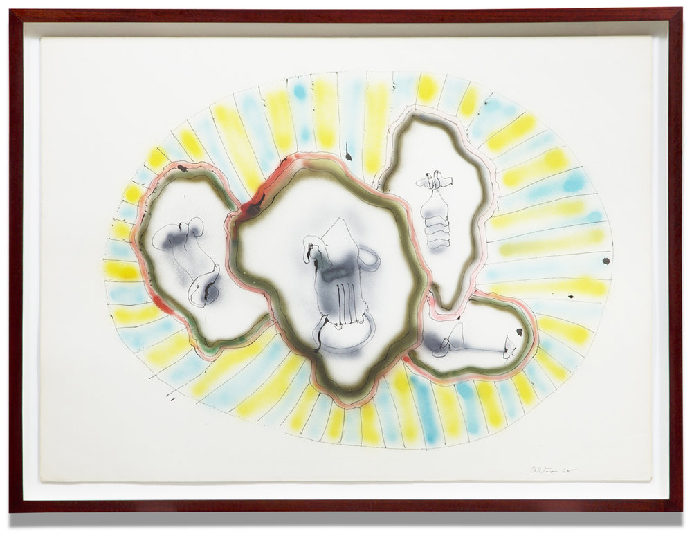 John Altoon,  Untitled (ABS-52) , 1965, airbrush, pastel and ink on board, 30 x 40 inches