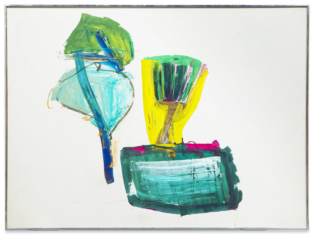"John Altoon, ""Untitled (ABS-with yellow and green),"" 1967, oil pastel on paper, 30 x 40 inches"