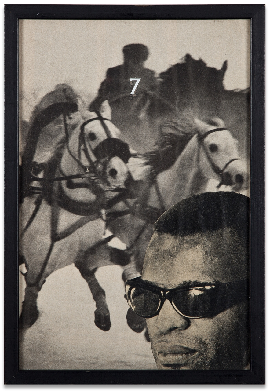"Wallace Berman, ""Untitled (Ray Charles, This Is The Card That Reads 7),"" c. 1965, collage, 12 1/2 x 8 1/2 inches"