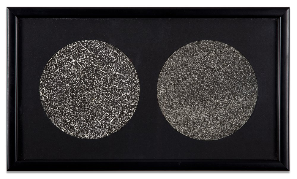 Bruce Conner, TWO MANDALA CIRCLES, c. 1970-71, Lithographs, 5 1/2 diameter each