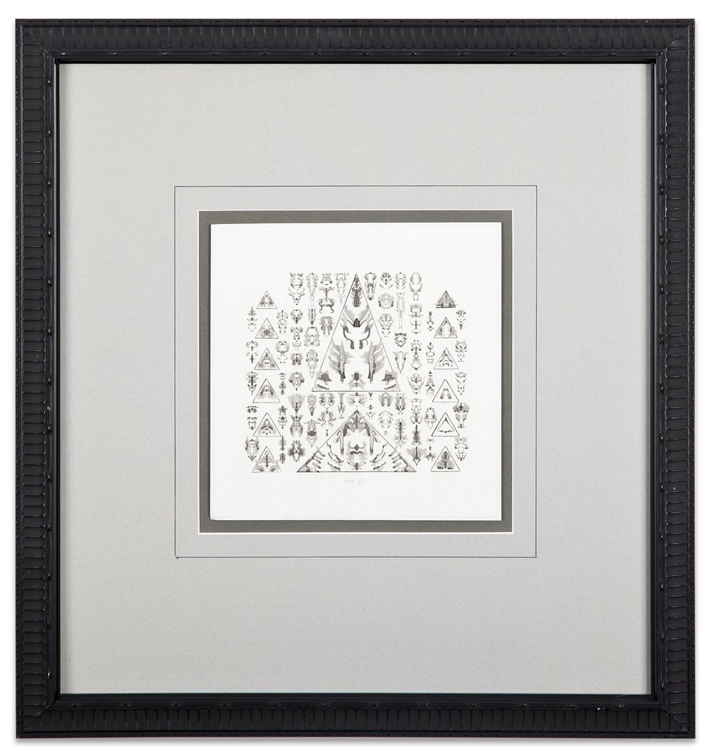 Bruce Conner, UNTITLED, 1994, inkblot drawing in triangles, 7 x 7 inches