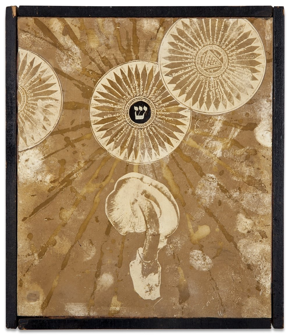 "Wallace Berman, ""Silent Series, Magic Mushroom,"" 1965, verifax collage, 8 1/2 x 7 inches"