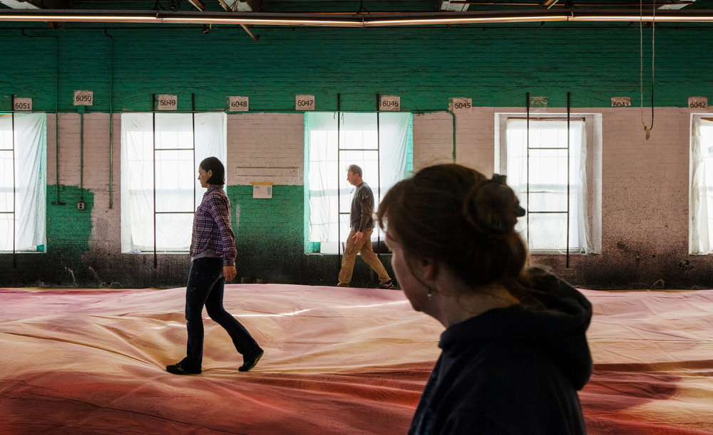 "The pop-surrealist artist Mark Ryden's backdrops for the ballet ""Whipped Cream"" being prepared at Scenic Art Studios in Newburgh, N.Y., in December. CreditLauren Lancaster for The New York Times"