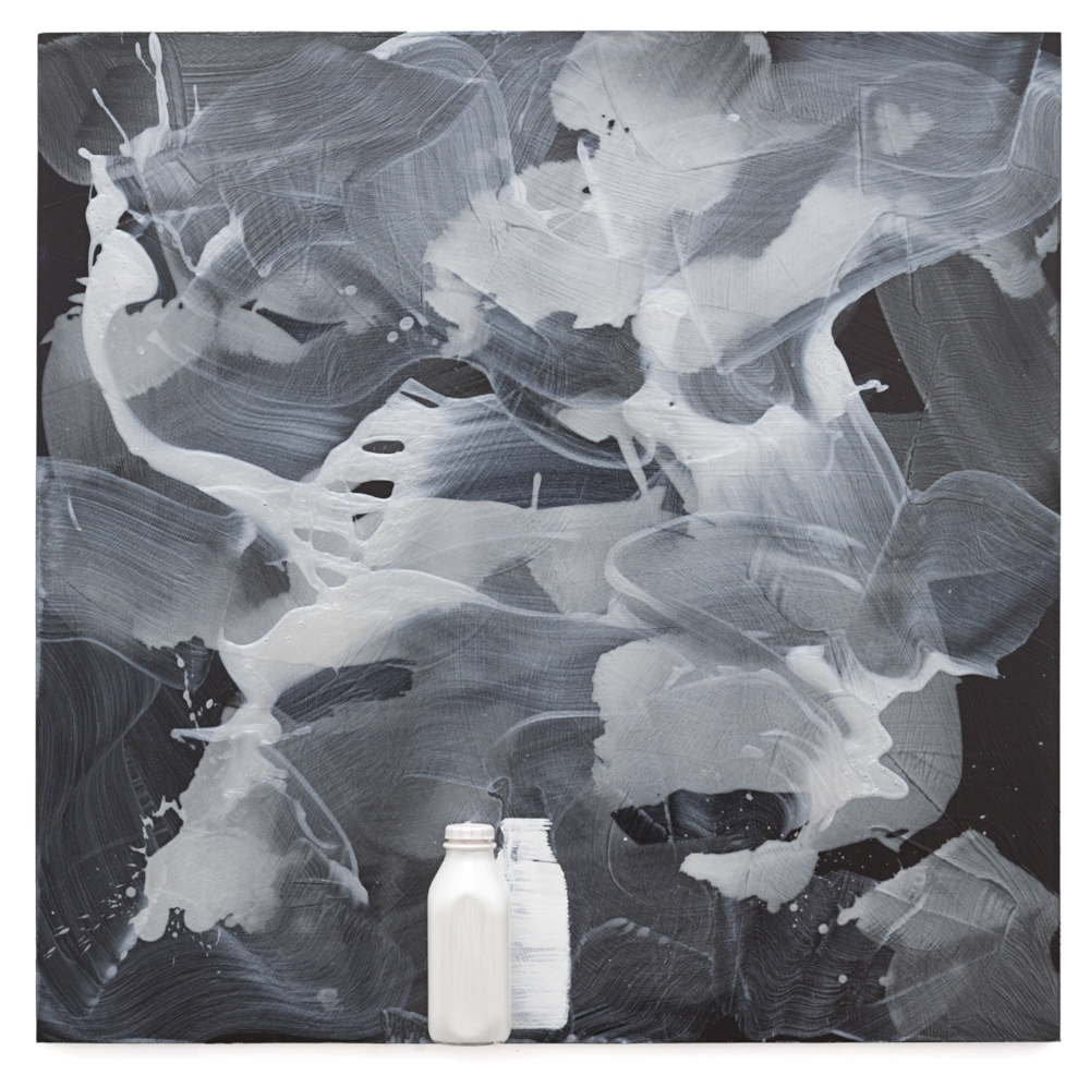 "Joe Goode, Milk Bottle Painting 229, 2015, acrylic on board with milk bottle, 42 x 42""."