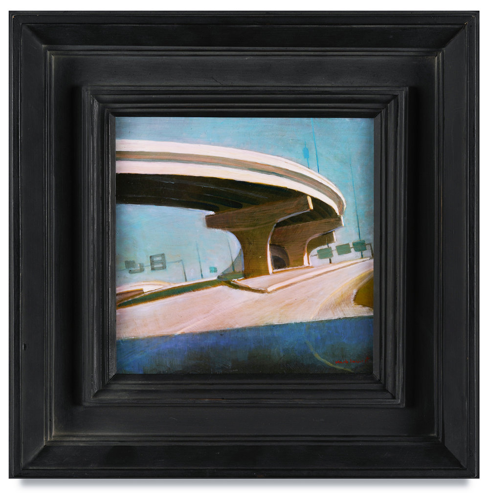 "Mark Innerst, ""Small Overpass,"" 2018, acrylic on panel, 8 x 8 inches; framed 14 1/4 x 14 1/4 inches"