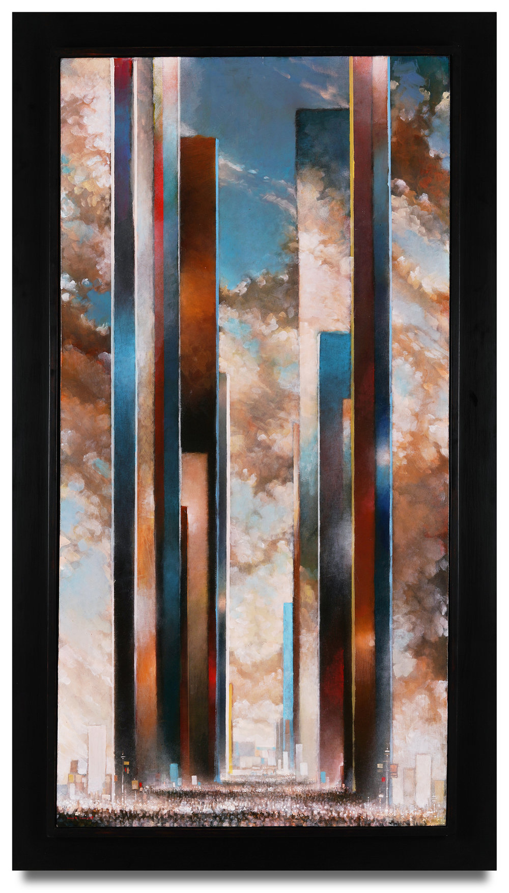"Mark Innerst, ""Unrest,"" 2018, oil on canvas, 48 x 24 inches; framed 56 1/2 x 30 1/2 inches"