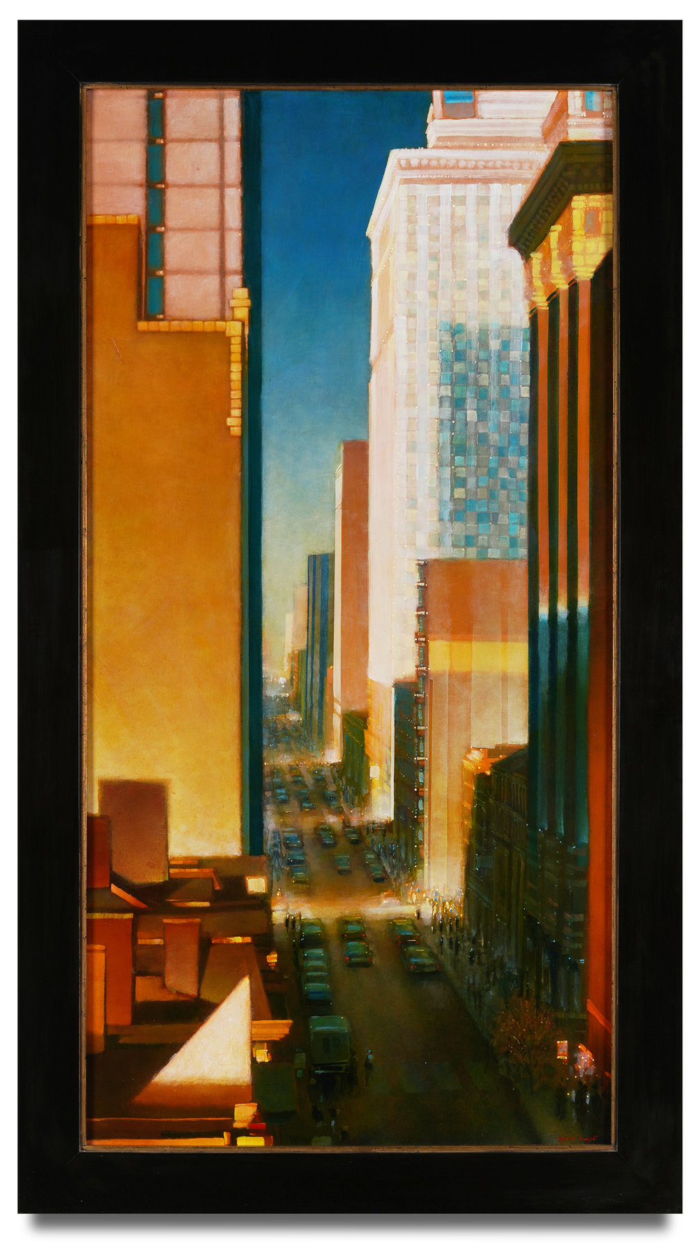 Mark Innerst,  View From A Hotel Window , 2018, oil on canvas, 48 x 24 inches; framed 54 1/4 x 30 1/4 inches