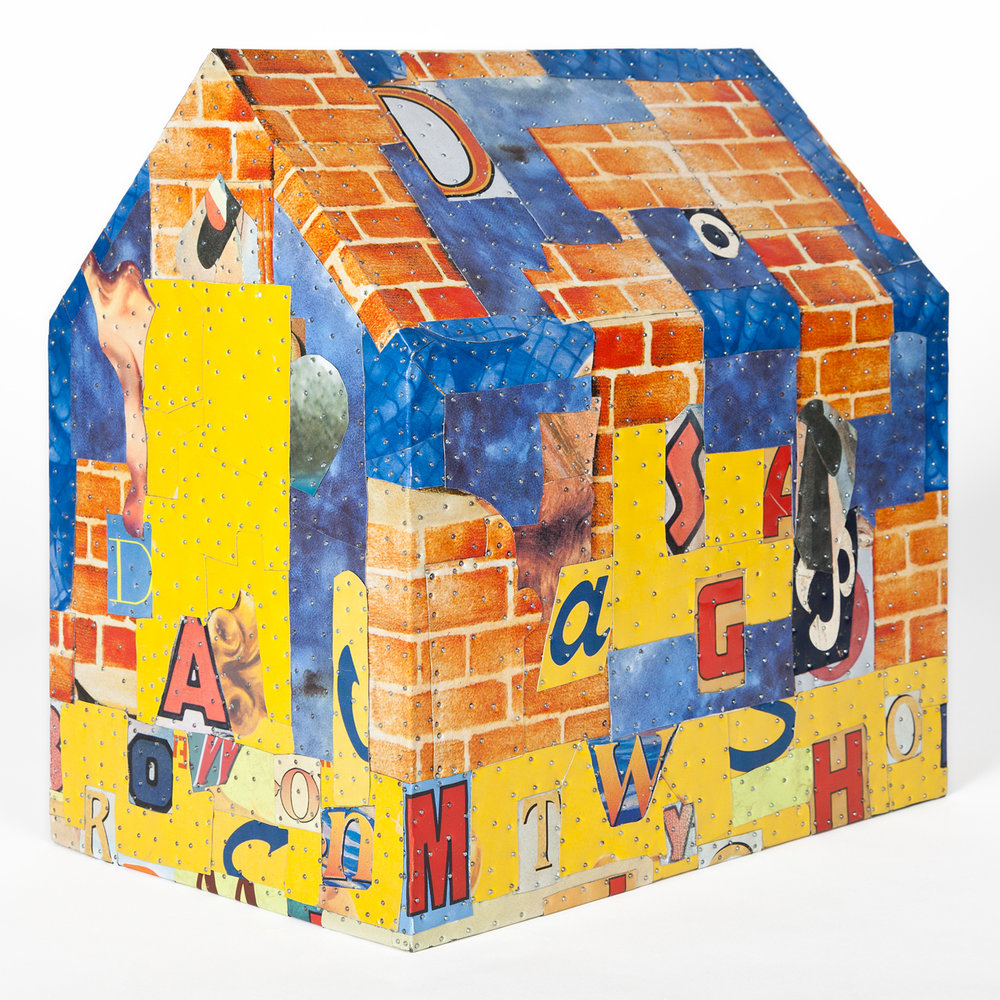 "Tony Berlant, ""Voice,"" 2015, found and fabricated printed tin collaged on plywood with steel brads, 15 x 10 x 14 inches"
