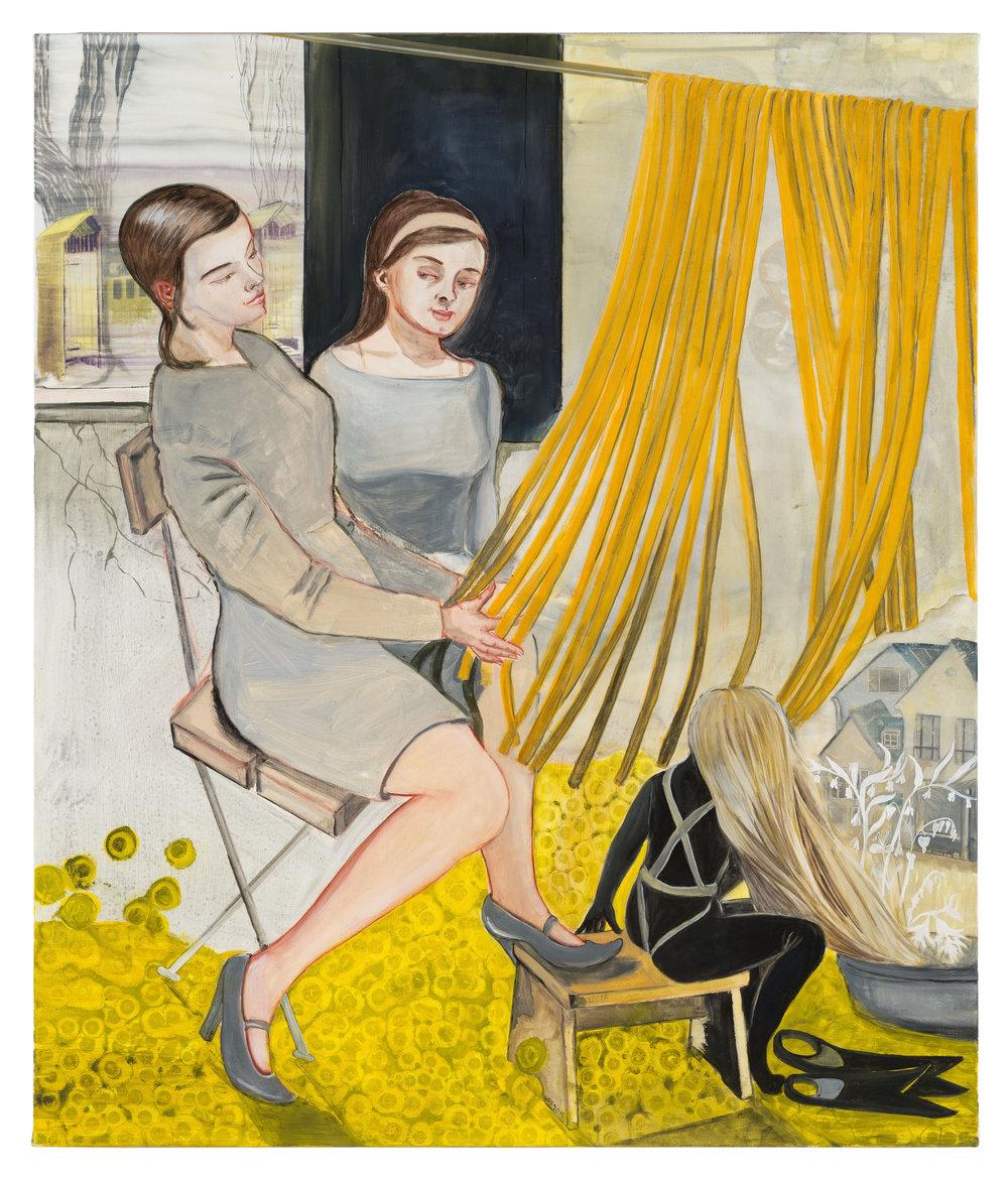 """""""Besucher,"""" 2013, casein on canvas, 51 1/8 x 43 1/4 inches"""