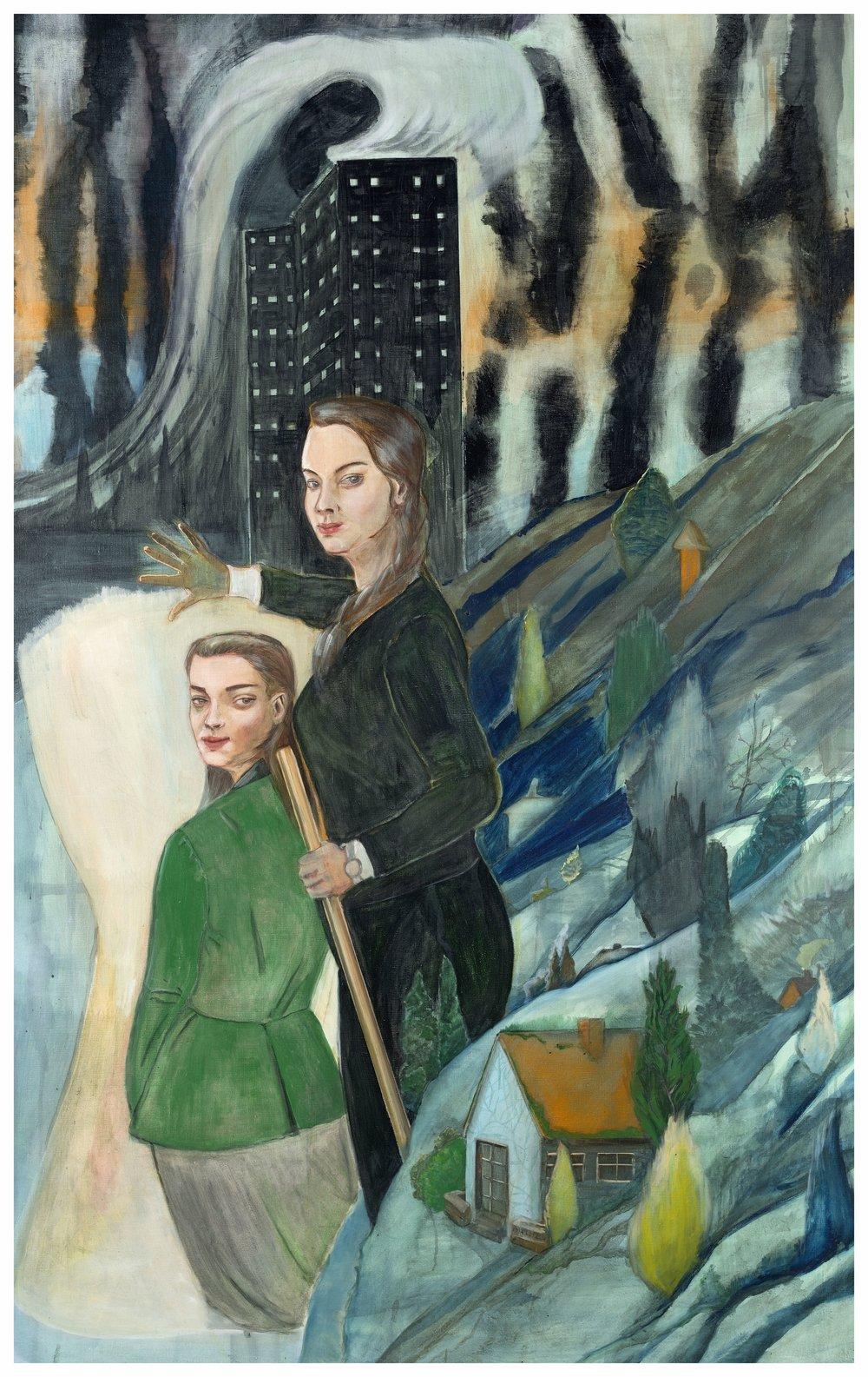 """Tide,"" 2014, casein on canvas, 75 3/4 x 43 1/4 inches"