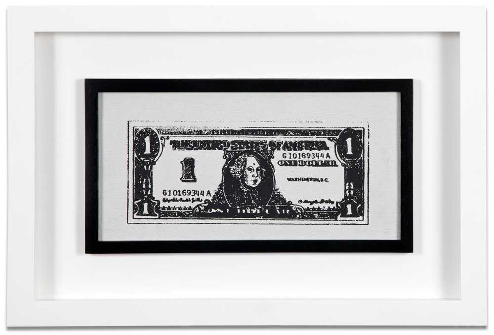 "Andy Warhol, ""Untitled (Dollar Bill),"" 1962, acrylic and silkscreen ink on canvas, 6 1/4 x 12 1/4 inches"
