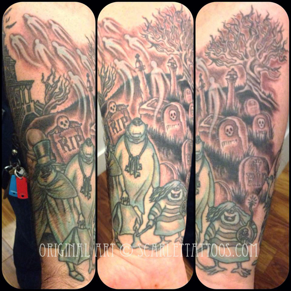 Haunted Mansion sleeve, in progress