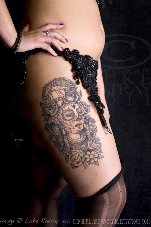 Pirate Queen tattoo on LaMaia, burlesque performer