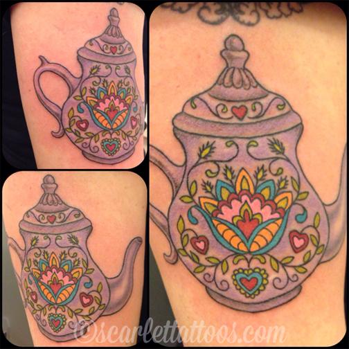 Czech Folkart Teapot tattoo