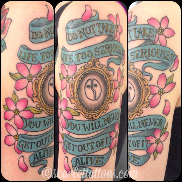 Banner with lettering and Cherry Blossoms with Victorian frame (added around existing Hedwig tattoo)