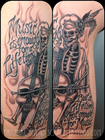 Skeleton playing cello with Rachmaninov quote