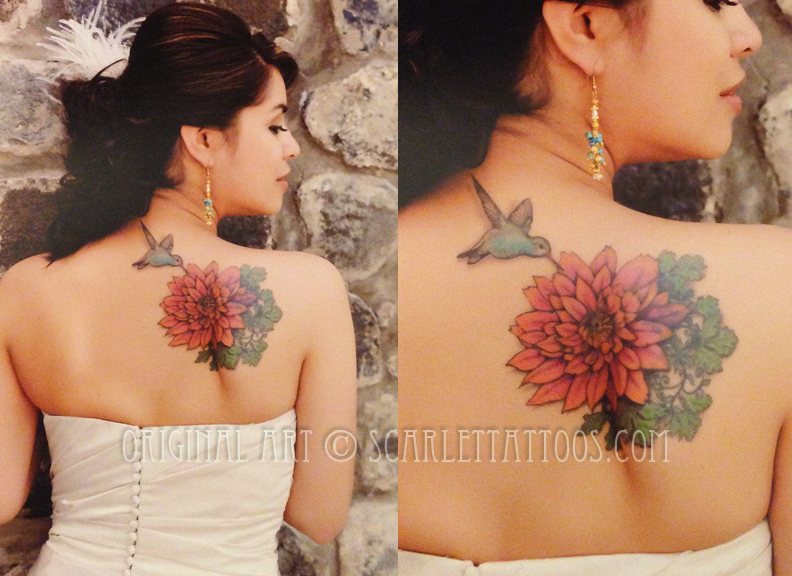 Hummingbird, flower and cilantro tattoo