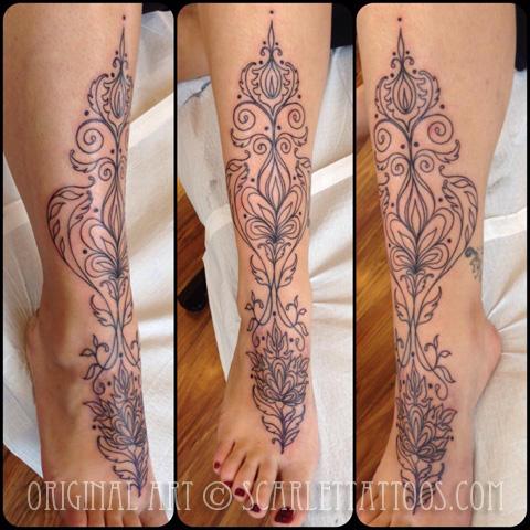 Henna inspired foot tattoo
