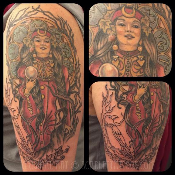 Mucha Morgan le Fay tattoo, in progress
