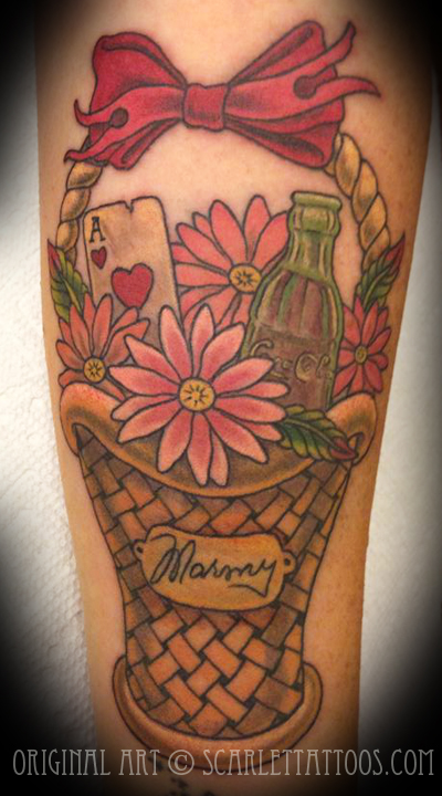 Vintage Gift Basket Memorial Tattoo