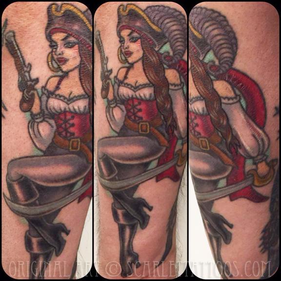 Pirate girl pinup tattoo