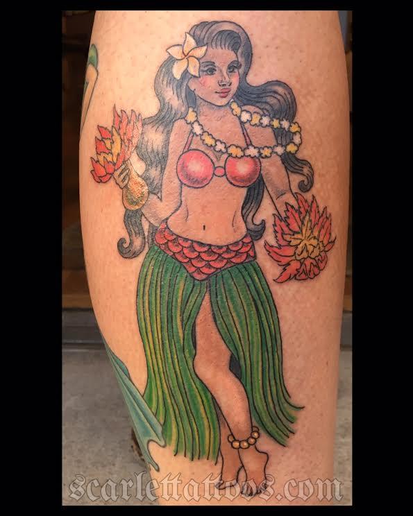 Hula Pinup Girl tattoo