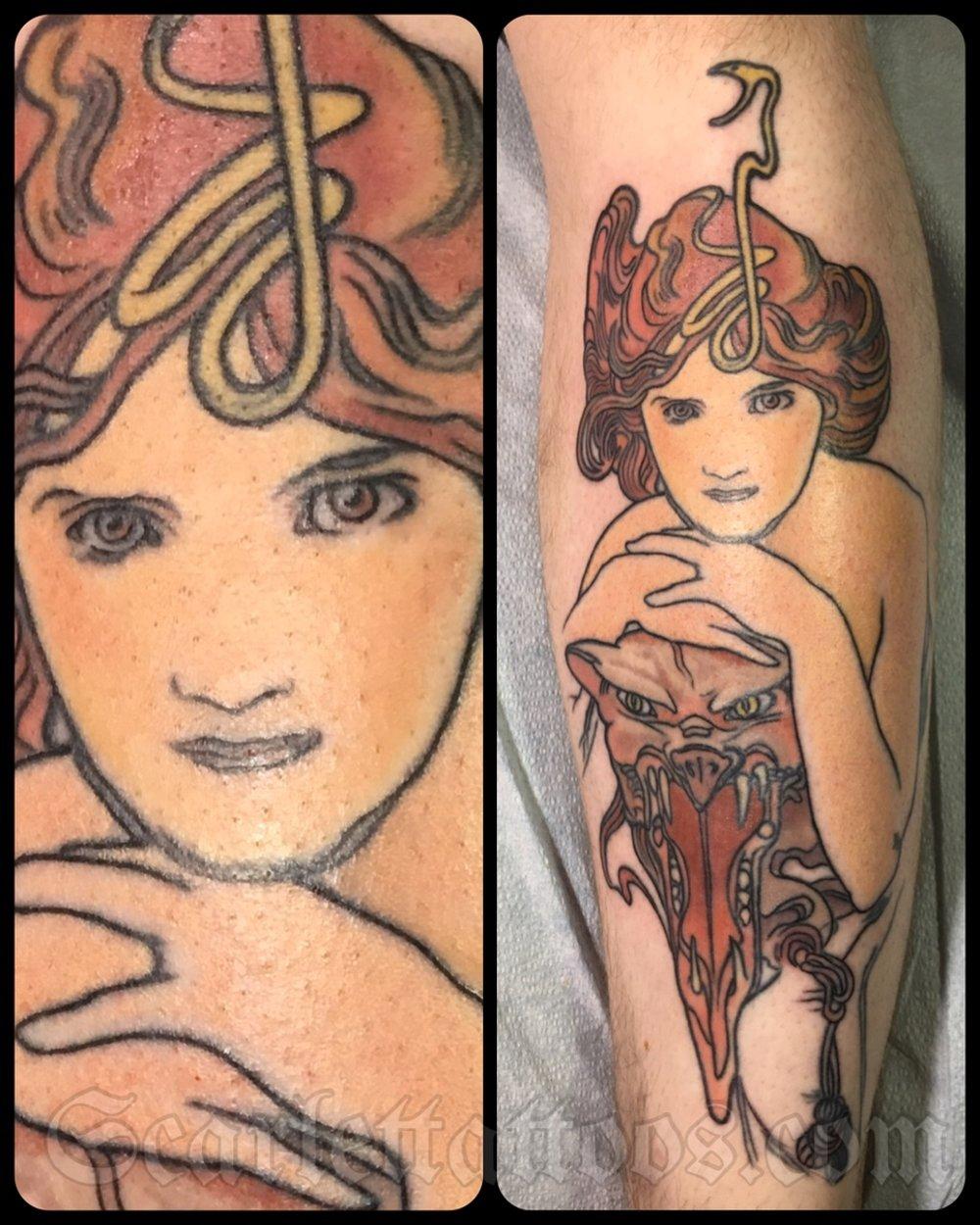 Alfonse Mucha Art Nouveau Tattoo