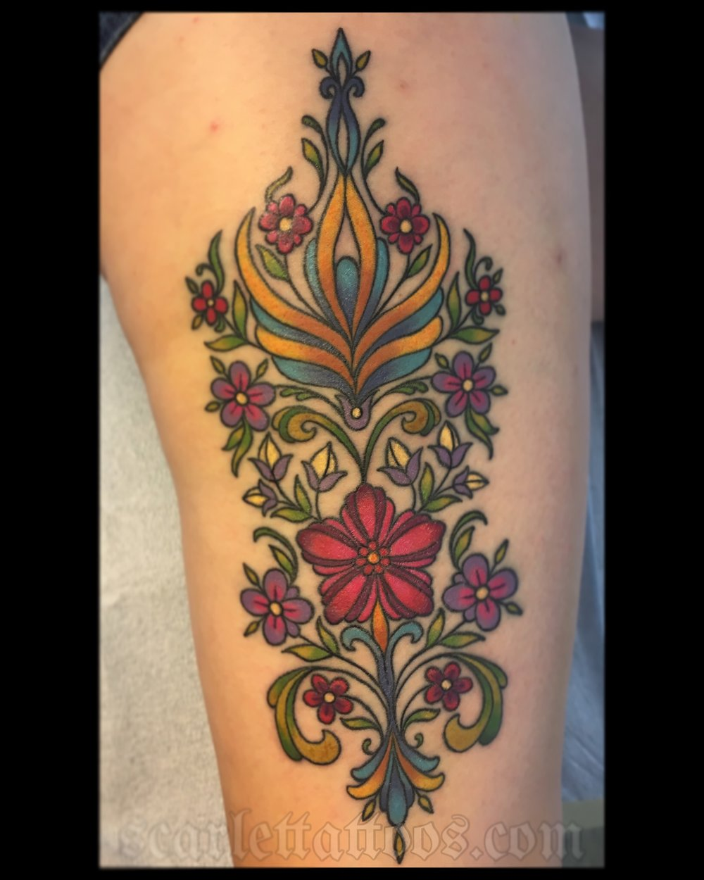 Swedish Kurbitz folk art tattoo