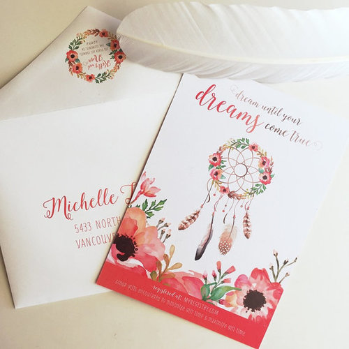 This Is A Bohemian Chic Inspired Baby Shower Invitation Features Watercolored Flower Wreath Dreamcatcher Modern Calligraphy And Colors Of An Orange Pink