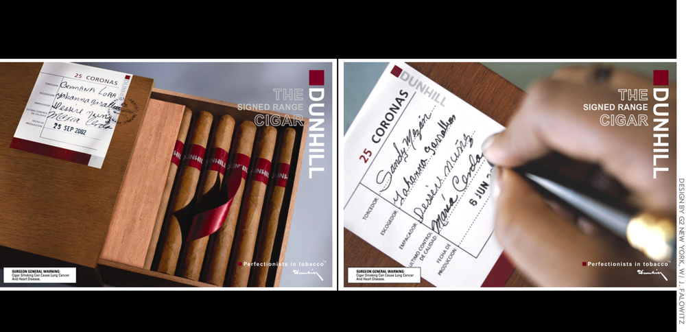 The Dunhill Signed Range Cigars: tobacconist posters