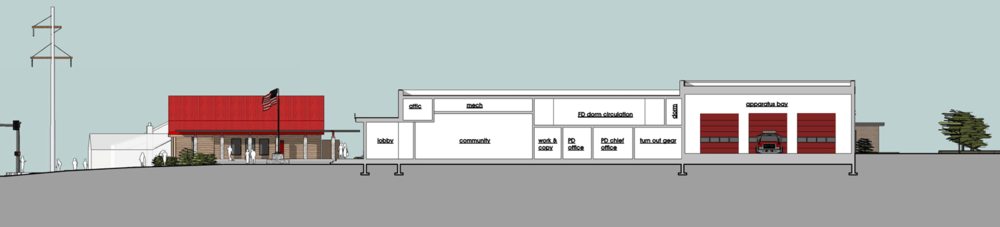 East-West Building Section