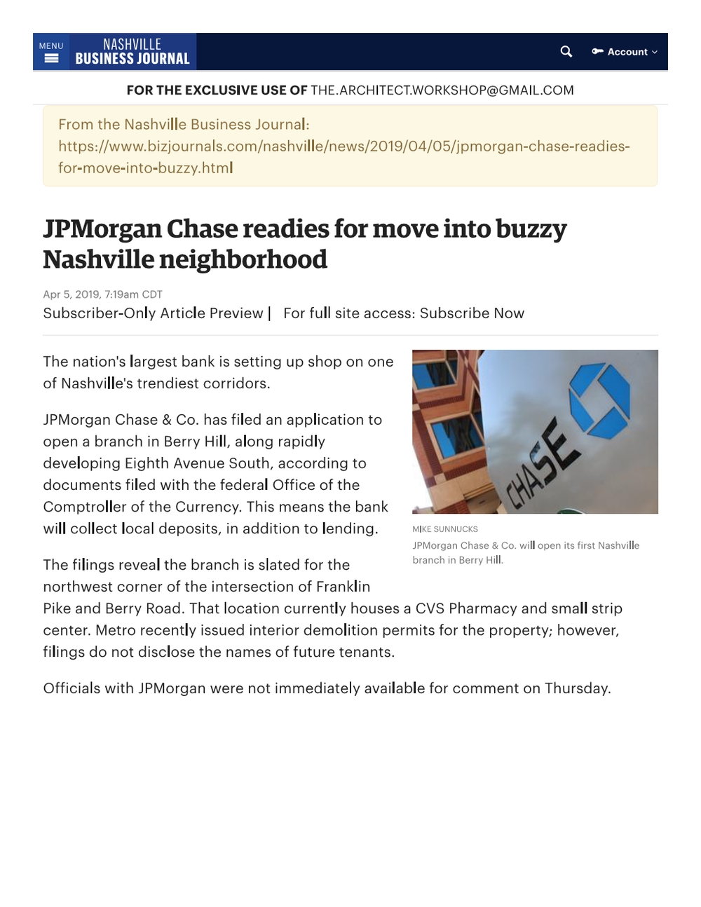 JPMorgan Chase selects Berry Hill for f...le branch - Nashville Business Journal Page 001.png