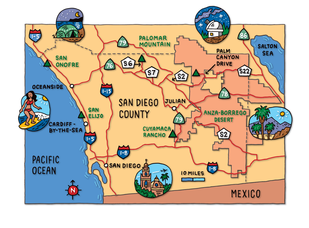 Southern California Map for Sunset Magazine