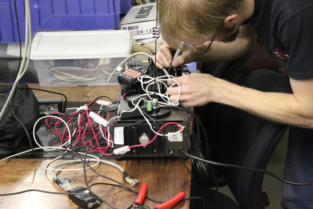 Chris prepares equipment.