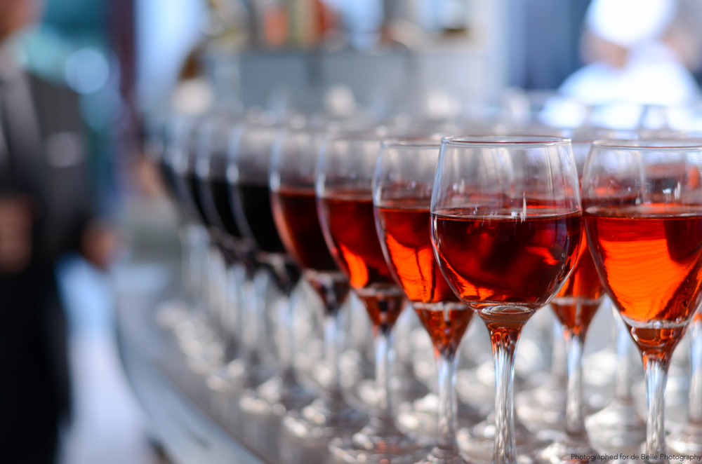 Wine glasses at wedding reception