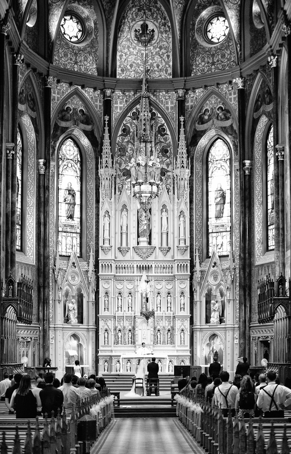 wedding ceremony in big cathedral